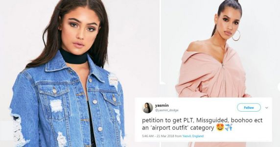 Missguided and Pretty Little Thing now have an airport outfits category
