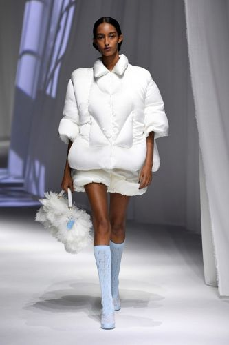 Get cosy: Fendi brought the duvet to the runway this season