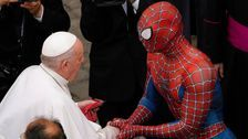 Pope Francis Meets 'Super-hero' In Spider-Man Costume At Vatican