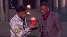 Chadwick Boseman Gives MTV Movie Award To Waffle House Hero