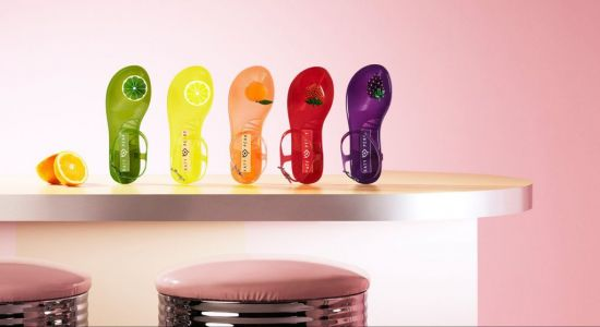 These colourful jelly sandals are fruit scented