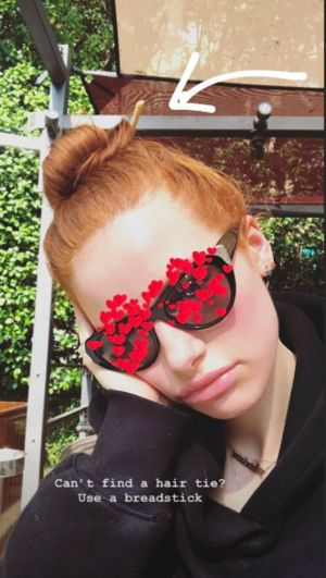Madelaine Petsch Didn't Have a Hair Tie, So She Used a Breadstick