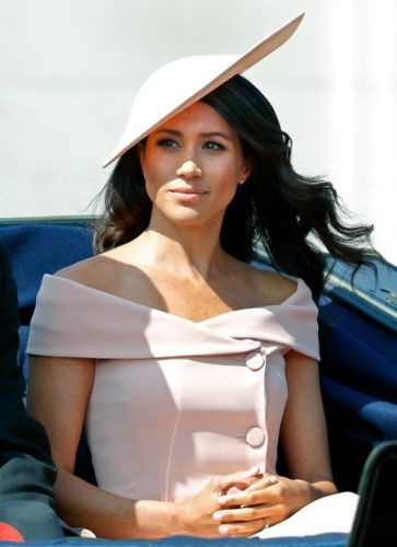 Meghan Markle Wears an Off-the-Shoulder, Baby Pink Dress to