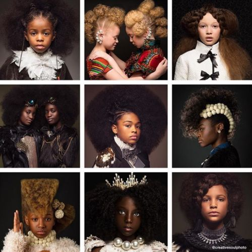 Baroque-inspired portraits of black girls highlight the beauty of natural hair