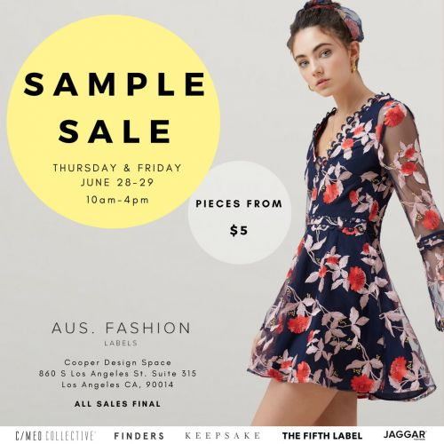 AUS. FASHION LABELS Sample Sale, June 28th -29th - Los Angeles