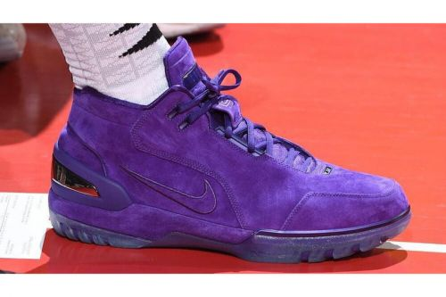 LeBron James Attends Summer League Game Sporting Purple Nike Air Zoom Generation PE's