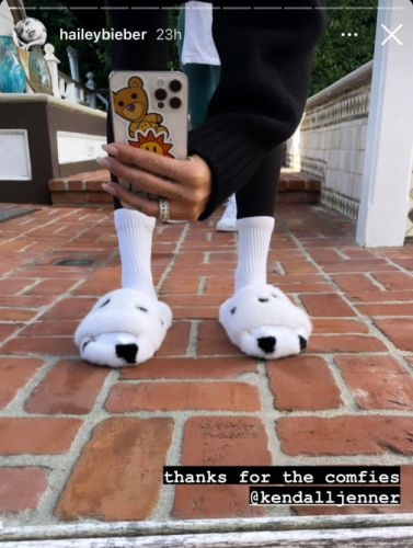 Kendall Jenner Gifted BFF Hailey Bieber The Most Perfect Fluffy Slippers