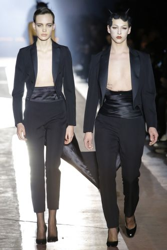 Violet Chachki just closed the Moschino show in a conjoined suit