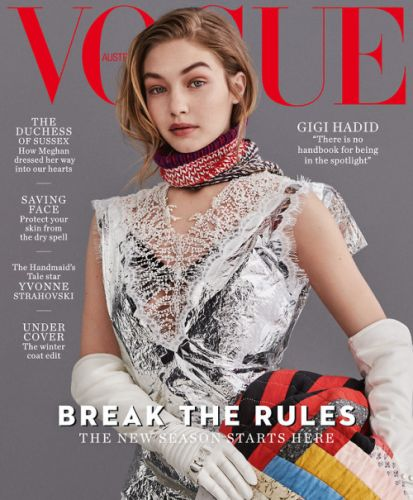 Gigi Hadid wears Calvin Klein 205W39NYC on the cover of Vogue