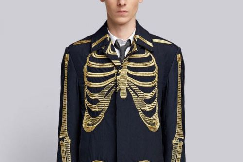 Thom Browne's $4,800 USD Overcoat Features Gold Skeleton Embroidery