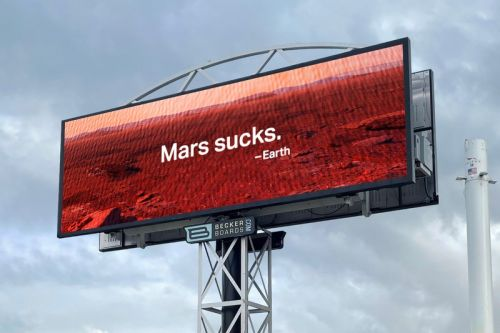 "SpaceX Trolled With ""Mars Sucks"" Billboard on Earth Day"