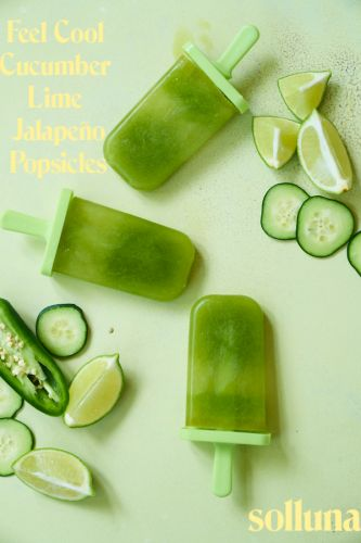 Feel Cool Cucumber Lime Jalapeño Popsicles