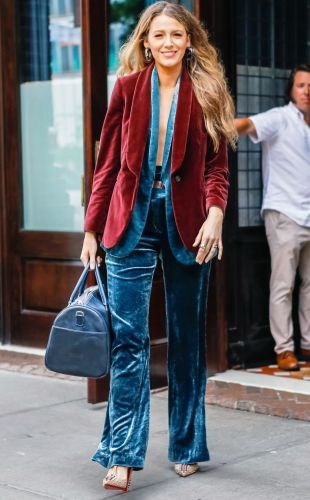 Blake Lively Miraculously Wore a Triple Velvet Pantsuit in August