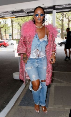 Rihanna Wore the Most Extra, Feather-Lined Outfit to Go to the Dentist