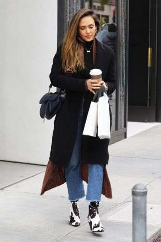 Jessica Alba Wore Mango's Most Highly Coveted Ankle Boots in Beverly Hills