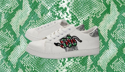 Boohoo's snake-embroidered trainers are £420 cheaper than Gucci's originals