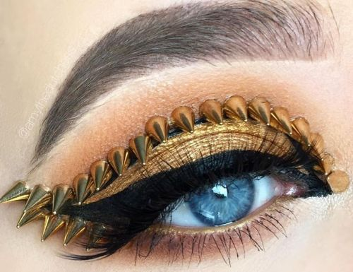The studded eye makeup trend probably isn't safe, but it looks cool
